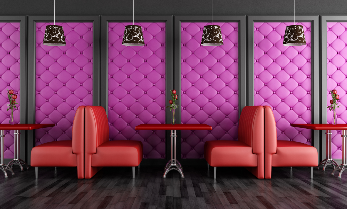 Red and purple fashion cafe-bar - rendering